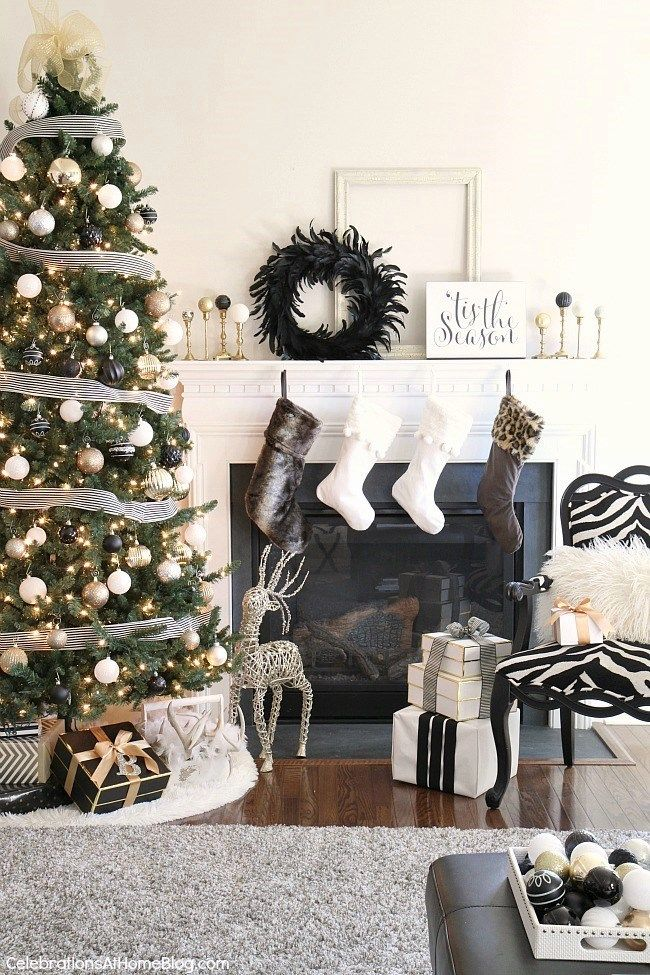 Our Christmas Decor This Year Black White Gold Gold Christmas Decorations Christmas Interiors White Christmas Decor