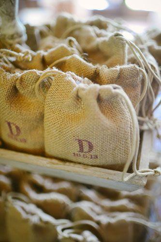 Real Louisiana Weddings: Burlap Bags.