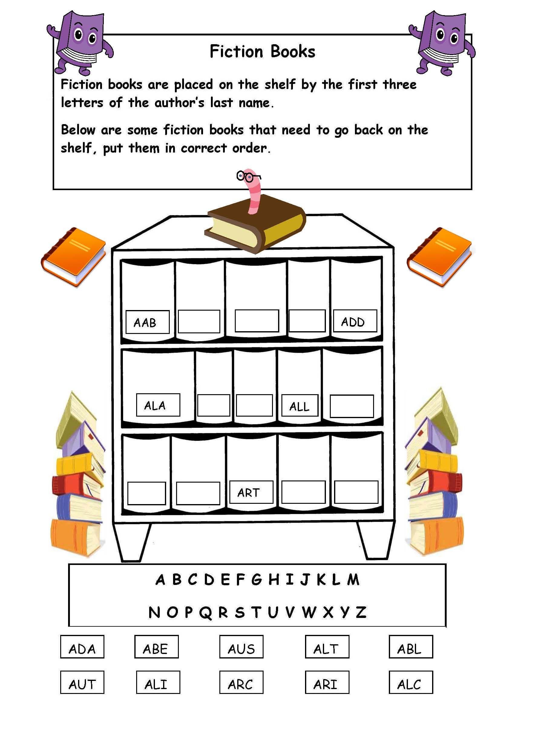 Alphabetical order on the shelf - worksheet.   Library skills [ 2431 x 1768 Pixel ]