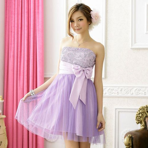 Party Semi Formal Prom Strapless Teens Ladies Girls Dress Light Purple S M 521bfbf0a
