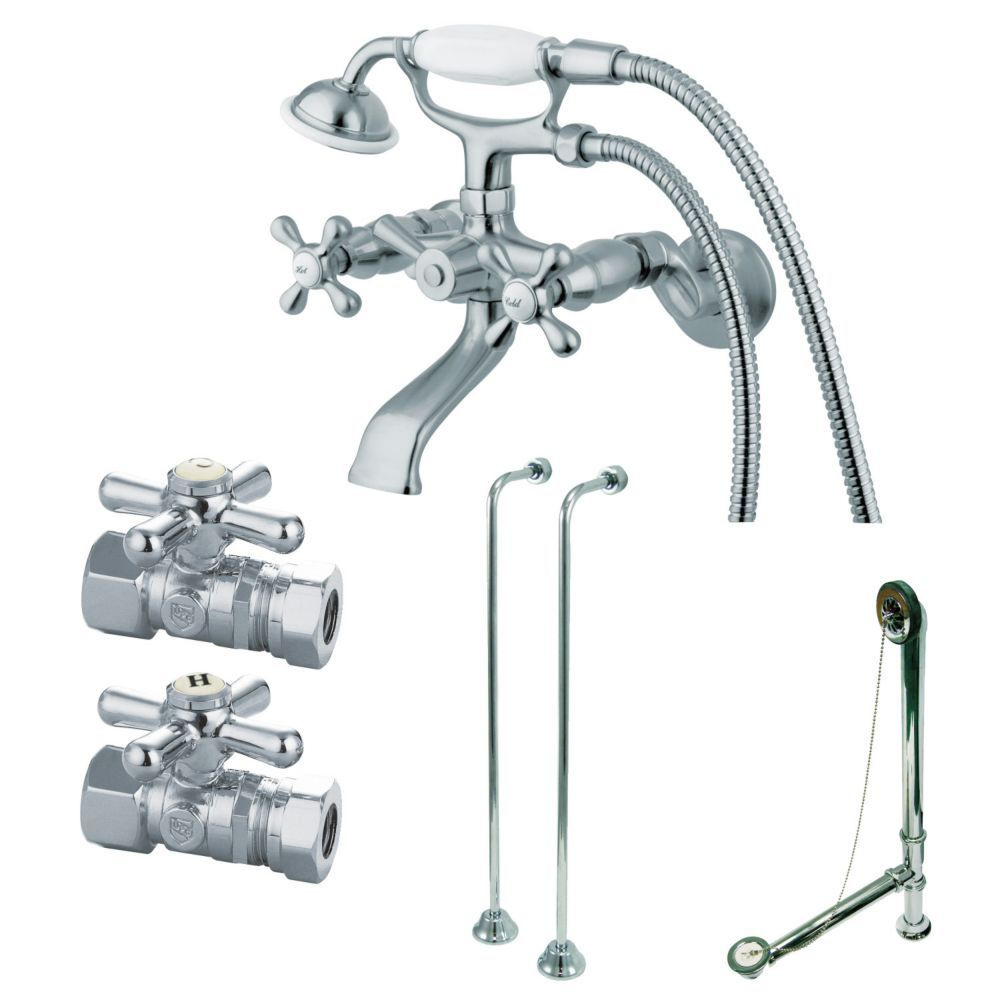 Combo Set 3 Handle Claw Foot Tub Faucet With Hand Shower In Chrome Clawfoot Tub Faucet Tub Faucet Clawfoot Tub