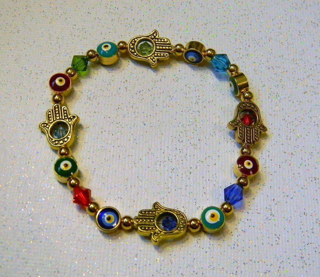 Gold Crystal Hamsa Evil Eye Stretch Bracelet