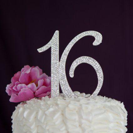 7ff43f8c63cd Sweet Sixteen 16 Cake Topper - Silver Rhinestone Sixteenth Birthday  Decoration