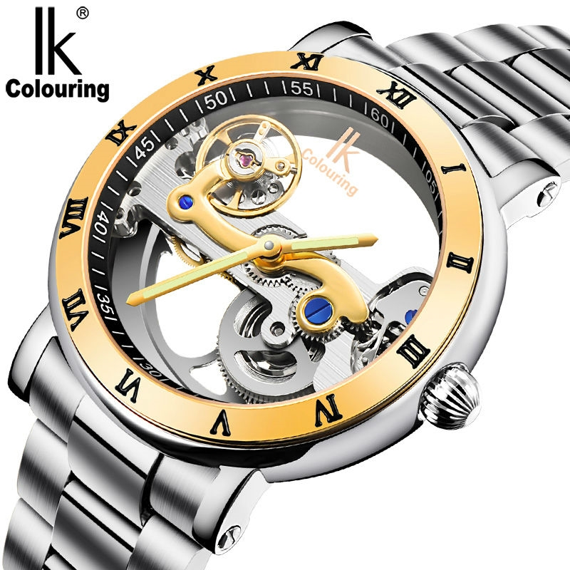 119.00$  Know more - http://aie3f.worlditems.win/all/product.php?id=32793145442 - IK colouring Mechanical Watch Men Gold Skeleton Watch Wrist Full Stainless Steel Dress watches Men Luxury Brand Automatic Clock