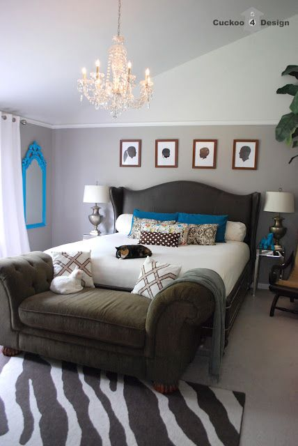 Grey Bedroom With Turquoise Accents And Brown Button Tufted Corduroy  Chaise: Paint: Rocky Bluffs