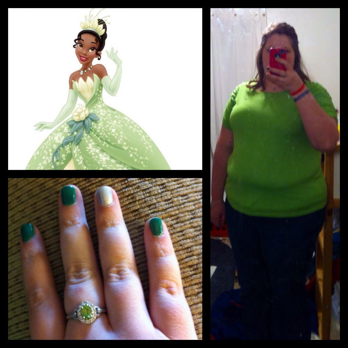 Princess look alike: Day 2: Princess Tiana- Today I was Tiana from princess and the frog, I wore a light green shirt that is a similar color to her gown, and I added a little bot of sparkle with some lime green matching necklace and ring I had. I decided on a casual half up-do with loose curls. I also went with a classic green mani with a silver accent finger. Tiana is a reminder that with hard work you can achieve goals but never forget to make time for love!-JB