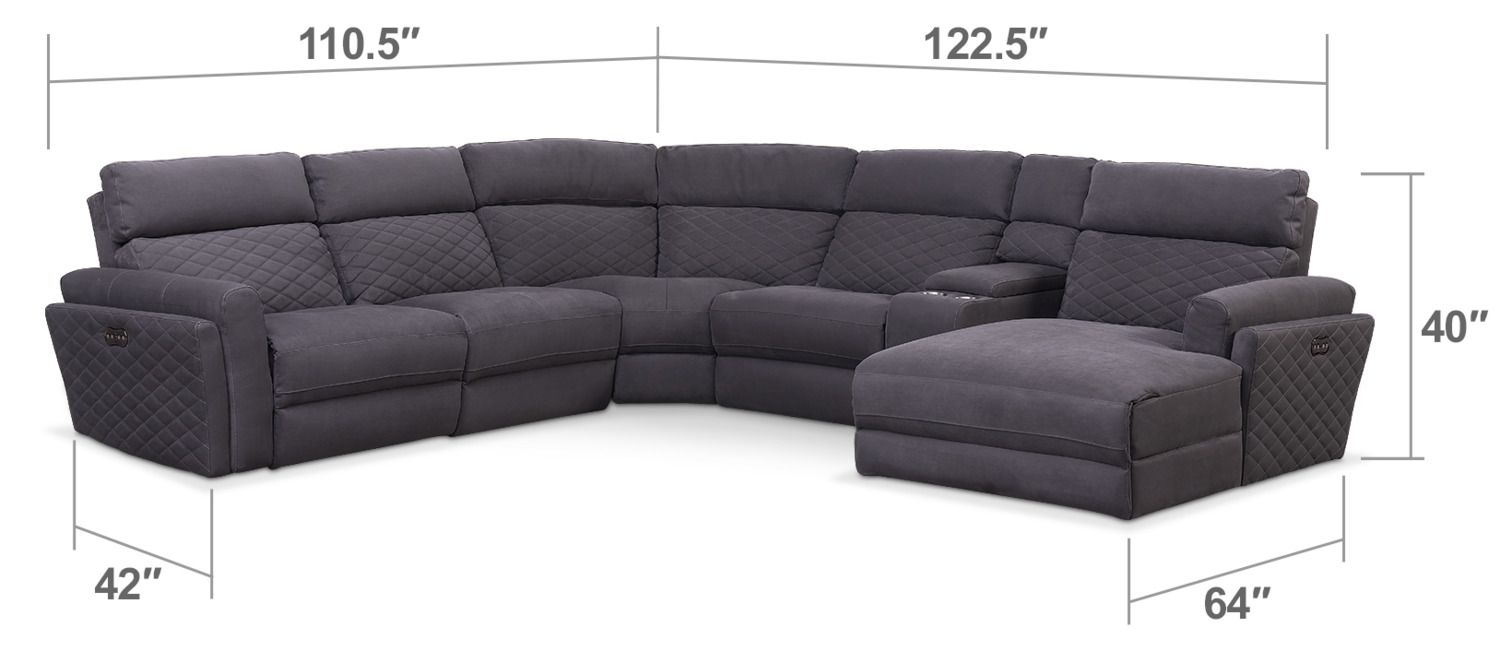 Living room furniture catalina 6 piece power reclining sectional with right facing chaise and 2 recliners gray