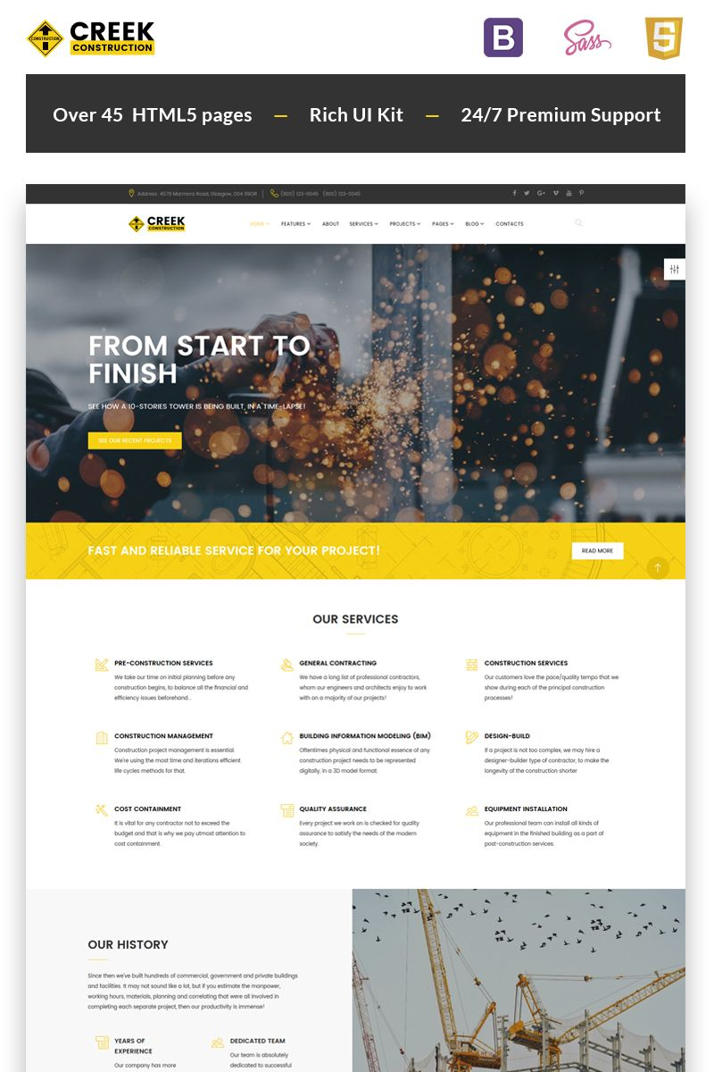 Creek - Construction Company HTML5 Website Template | Website ...