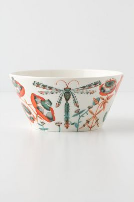 Dragonfly and flowers on white bowl
