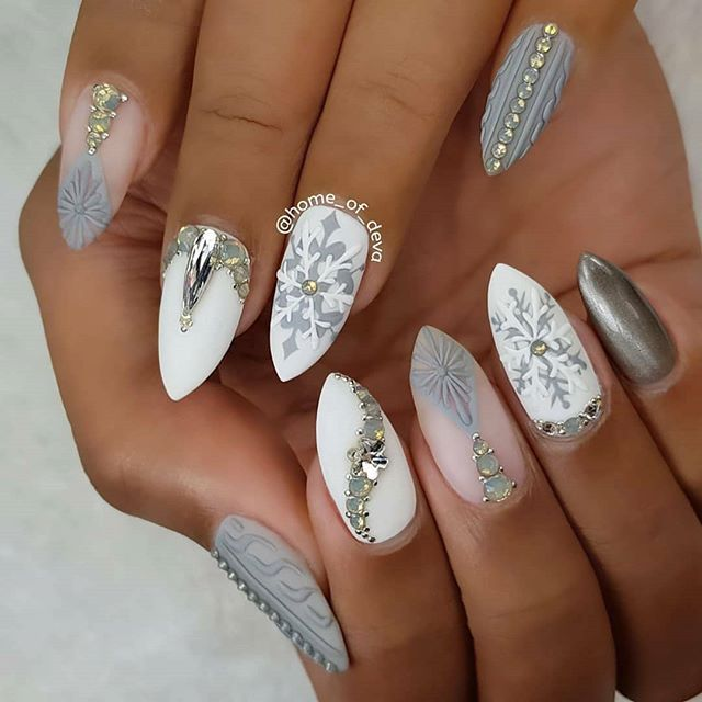 Elegant Winter Christmas Nail Design With White And Grey Gel Polish Matte Top Coat Snowflakes Silver Stone Designs