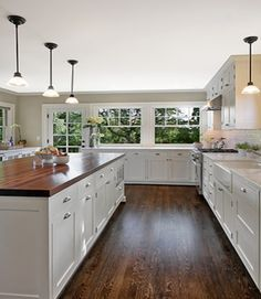 Off White Kitchen Cabinets With Butcher Block Countertops : butcher block countertop on white shaker cabinet - Google Search Butler Kitchen White ...