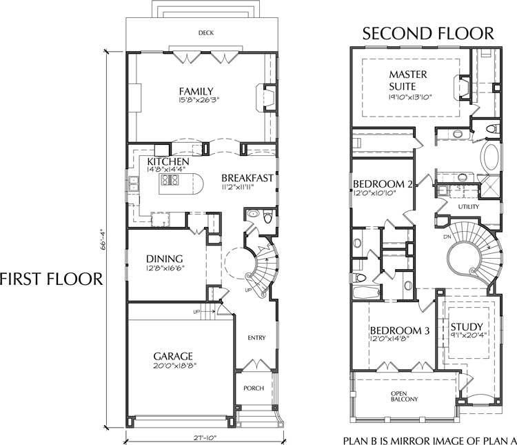 Two Story Narrow Home Plan D4141 Condo floor plans