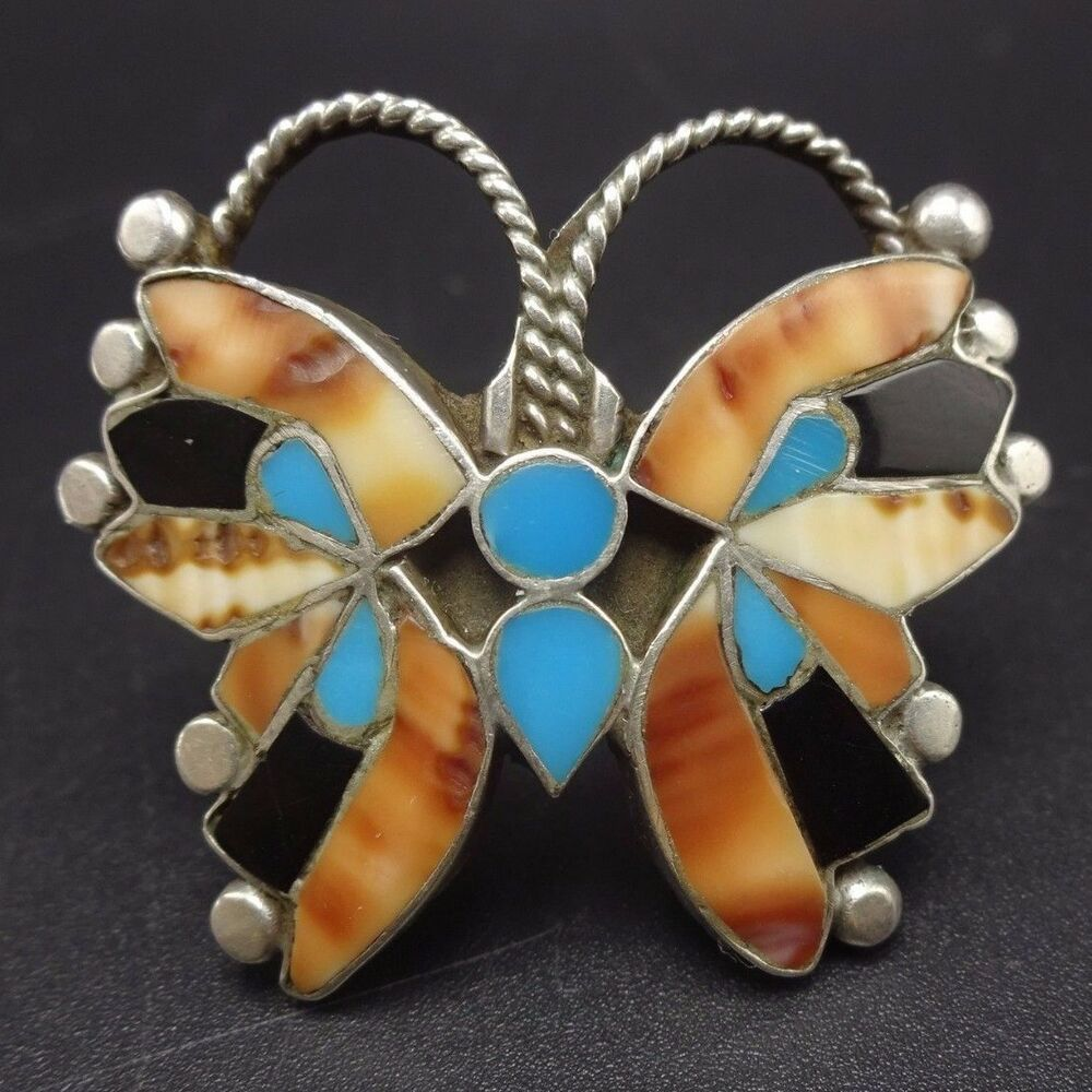 Vintage ZUNI Sterling Silver SHELL & TURQUOISE Inlay