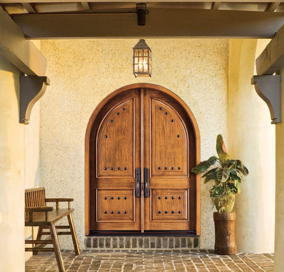 Jeld Wen For A Transitional Entry With A Jeld Wen Front Door And Jeld Wen Aurora Custom Fiberglass Exterior Doors Double Doors Exterior Custom Fiberglass Door