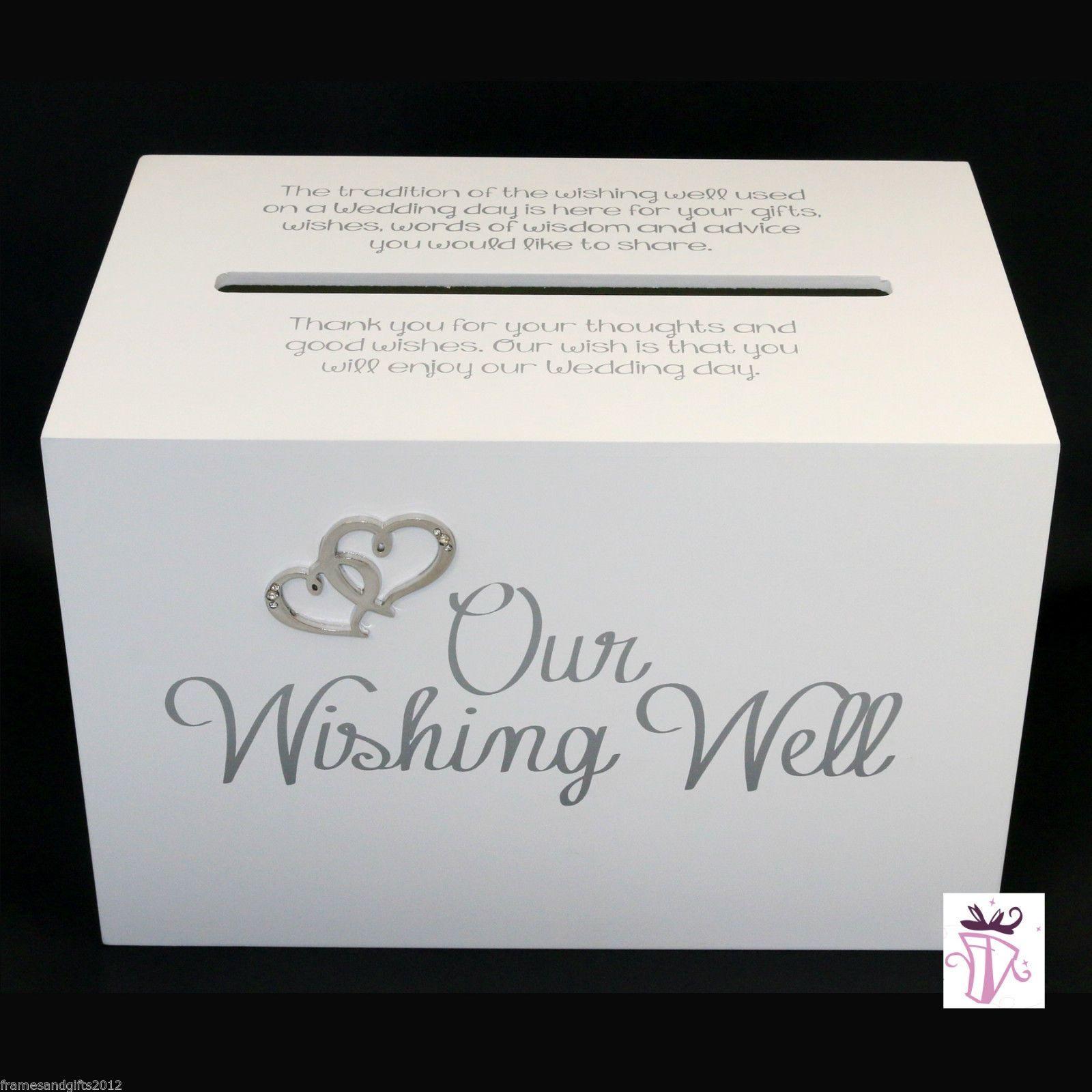 how to write thank you notes for wedding gift cards%0A Wedding Wishing Well Gift Card White BOX With Quote OUR Wishing Well   eBay