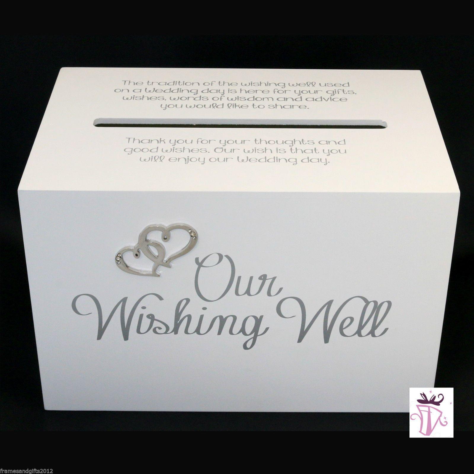 Wedding Wishing Well Gift Card White Box With Quote Our Wishing Well Wishing Well Wedding Wedding Gift Card Box Card Box Wedding