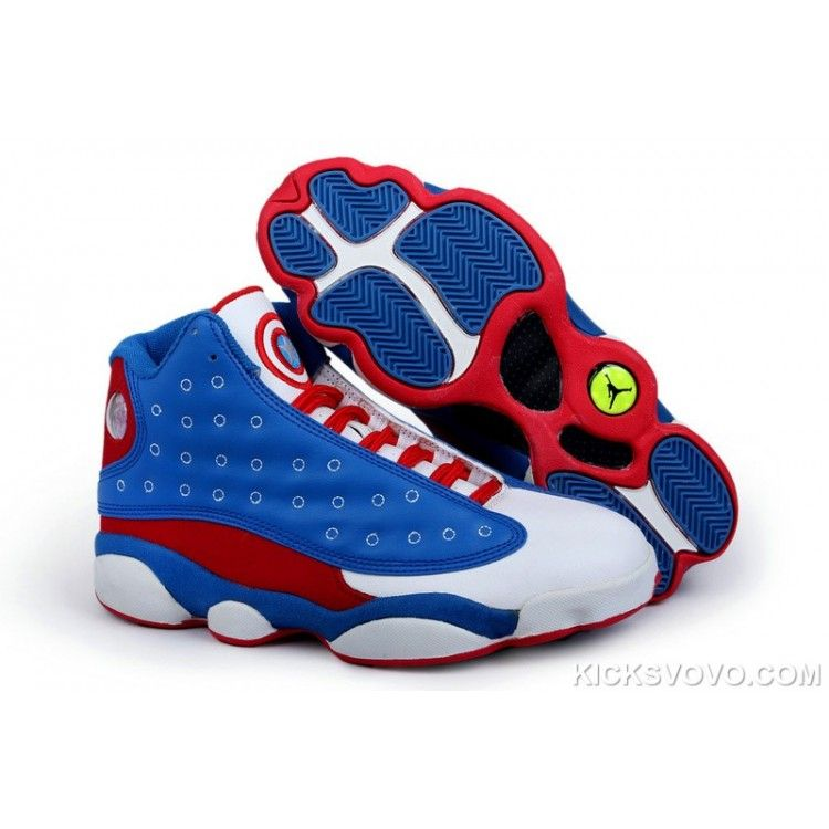 Authentic Air Jordan 13 Captain America Series Blue White Red
