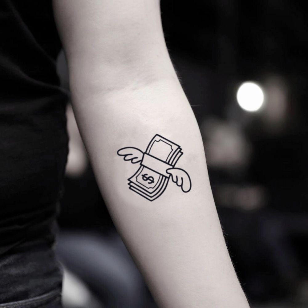 Money Fly Temporary Tattoo Sticker Set Of 2 Tattoos