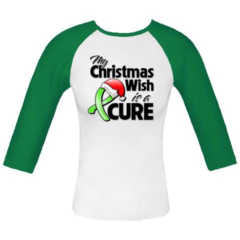 My Christmas Wish is a Cure Lymphoma awareness Fitted Raglan T-Shirts  #LymphomaChristmasWish #LymphomaAwareness #CureLymphoma