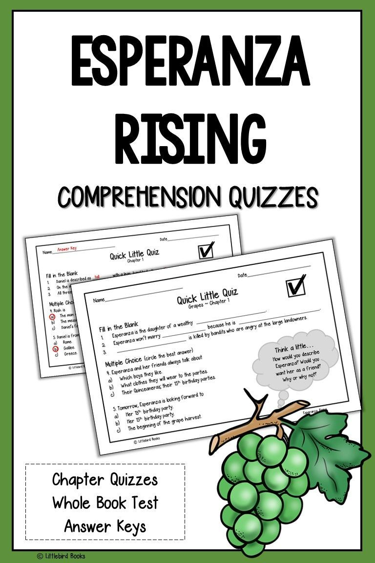 Esperanza Rising Comprehension Questions (Esperanza Rising Quiz