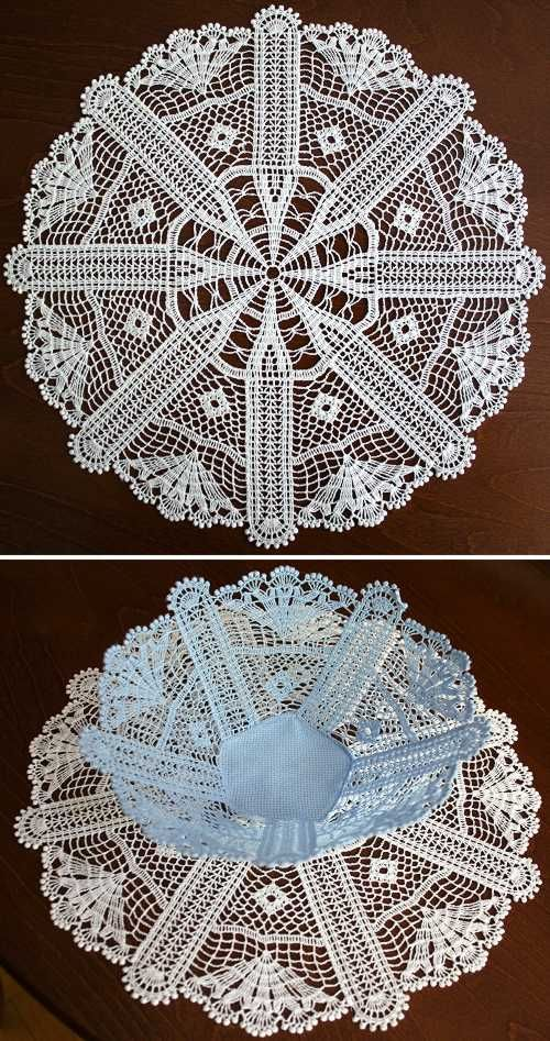 Advanced Embroidery Designs - Antique FSL Crochet Bowl and Doily Set