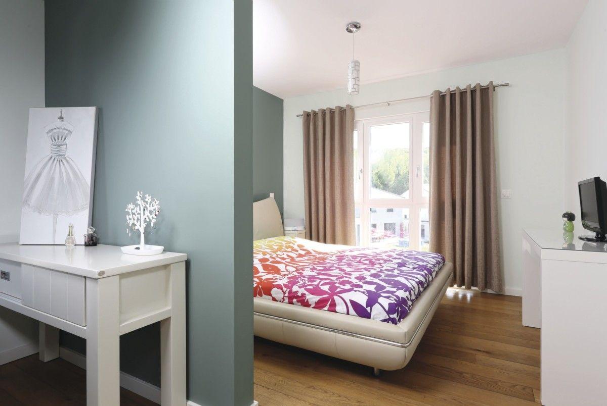 Schlafzimmer Ideen Wandgestaltung Tapete blau grau - Interior ...
