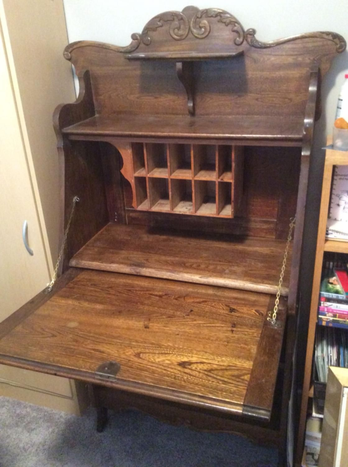 For Sale: Antique drop down desk - Excellent condition. Has a few paint  spots. Current owner bought in 1960 second hand. Sad to see it go but need  to ... - Antique Drop Down Desk Brass Monkey Pinterest Garage Sale App