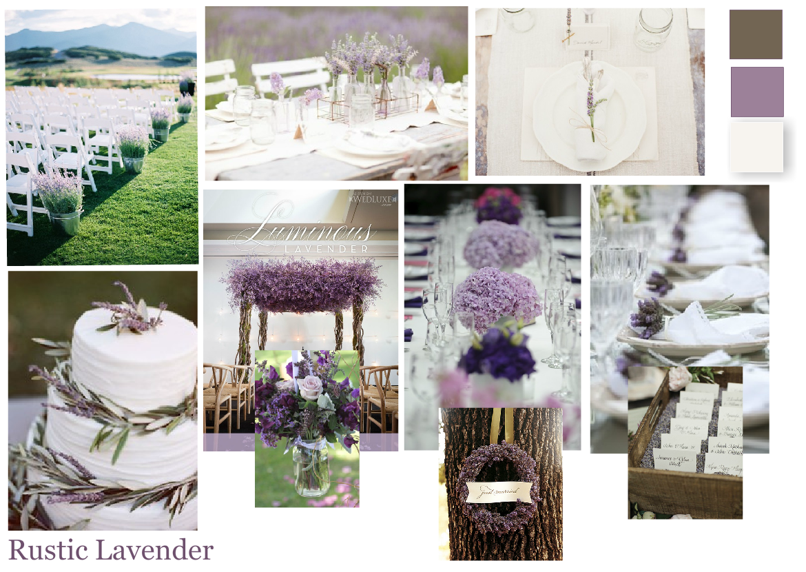 Lavender Weddings, Purple weddings, Lavender Inspiration board http://www.pierrecarr.com/blog/2013/01/wedding-inspiration-lavender/  #PierreCarr #Moodboards