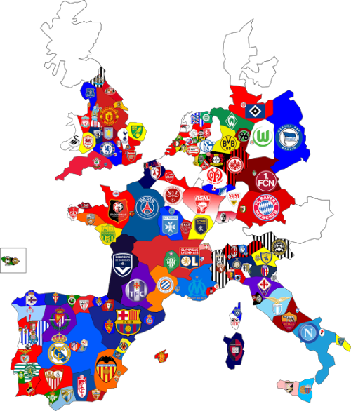 Map of top division football clubs in major European