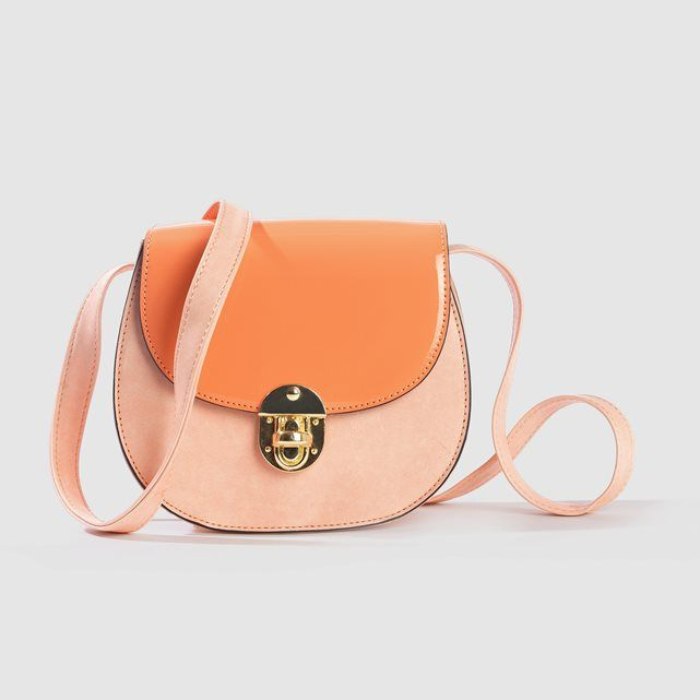 his MADEMOISELLE R bag is a must for work or weekend fun! MADEMOISELLE R patent cross body bag.   Brand: MADEMOISELLE R   Size: L 18 x H 19 x D 8 cm   Outer: 100% polyurethane.   Lining: 100% polyurethane.    Magnetic fastening   Pockets: 1 zipped pocket and 1 centre pocket   Adjustable shoulder strap