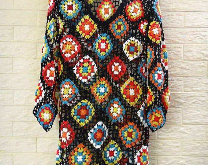 Crochet Granny Square Dress Long Sleeves   Sacos tejidos, Abuelas y ...