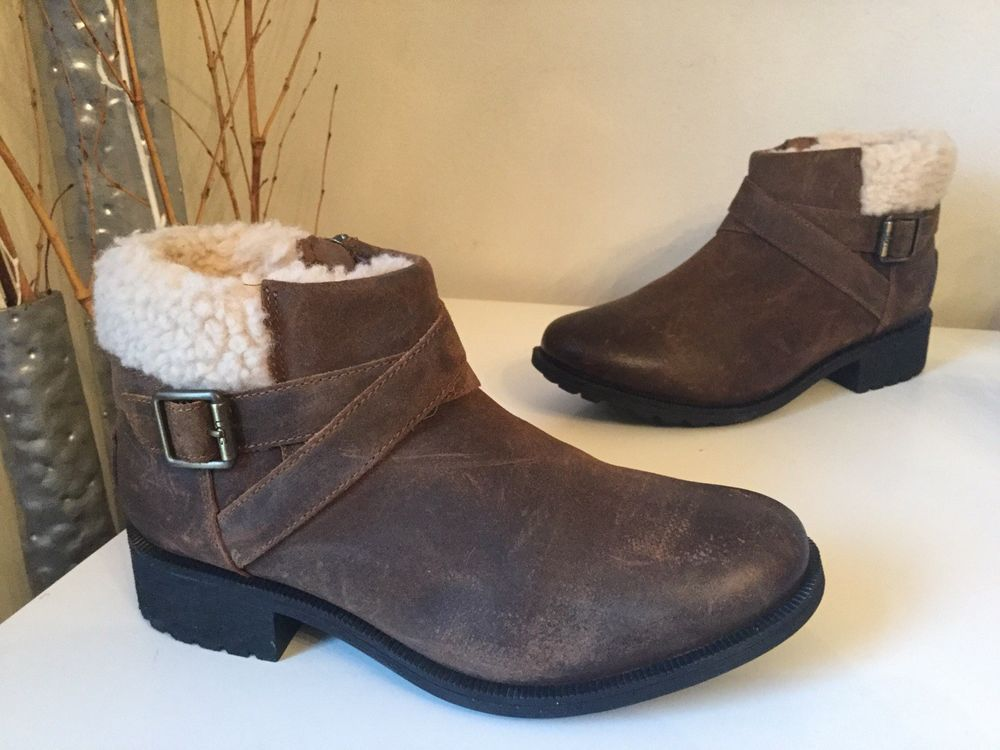 2ef080aa43b $160 UGG Australia Benson Chipmunk Waterproof Leather Ankle Boots ...
