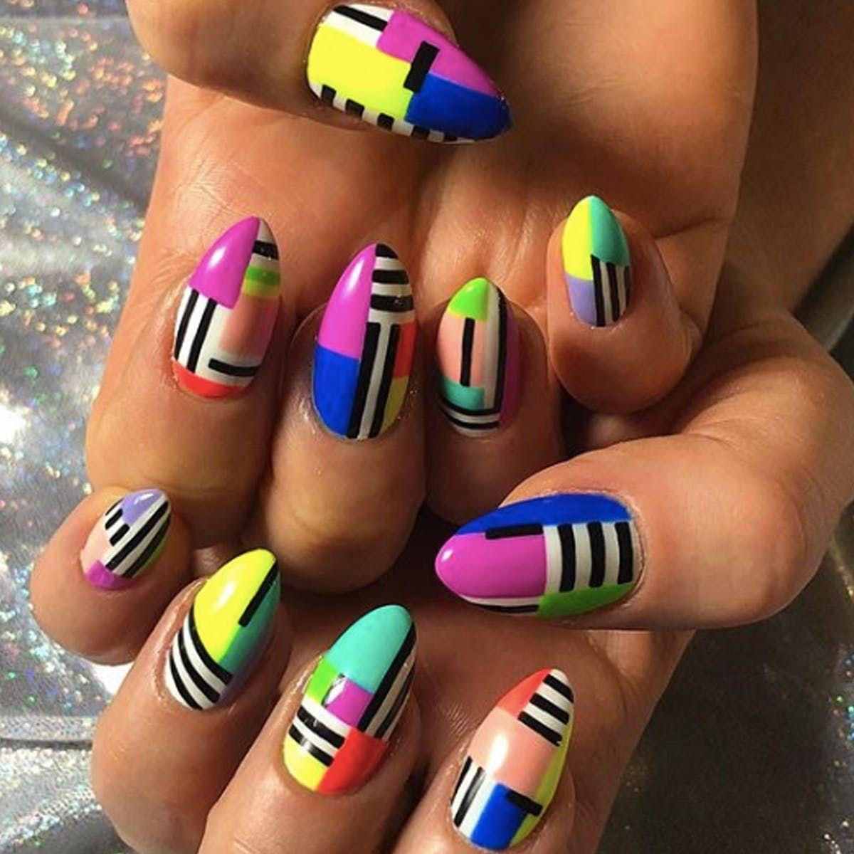 16 Color Block Nail Art Ideas Courtesy Of Instagram Color Block Nails 80s Nails Nail Art Designs