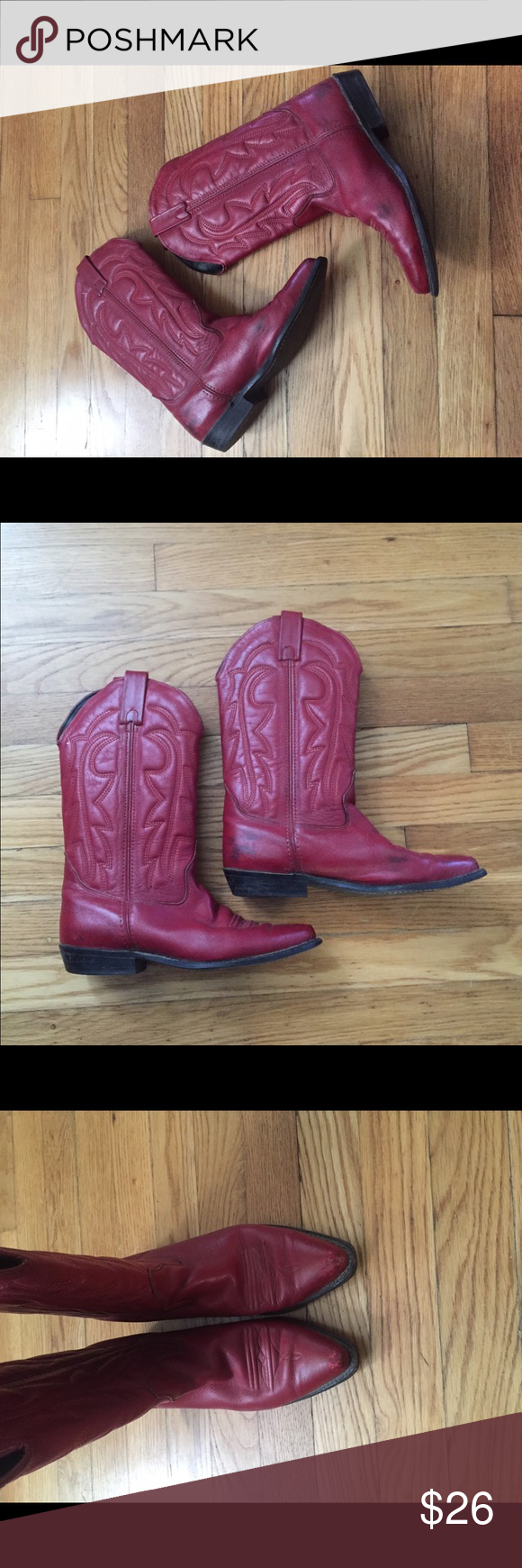 Vintage red cowboy boots Vintage red cowboy boots, they do have plenty of scuffs but still have many miles left to go Shoes