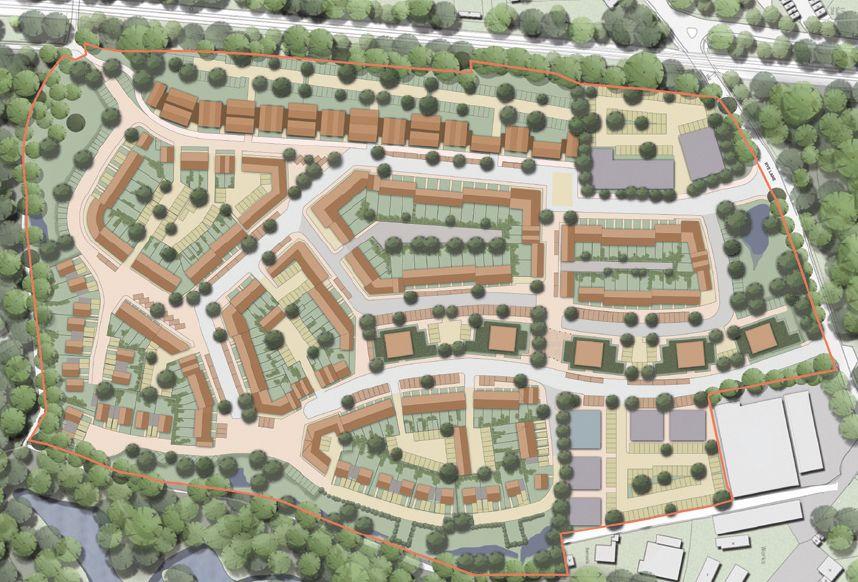 planta de localização - loteamento urbano Commercial residential development on large brownfield site in Sevenoaks, Kent. FraserBrownMacKenna Architects.