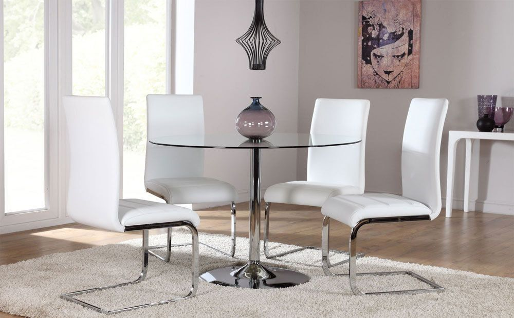Orbit Perth Round Glass Chrome Dining Table And 4 Chairs Set