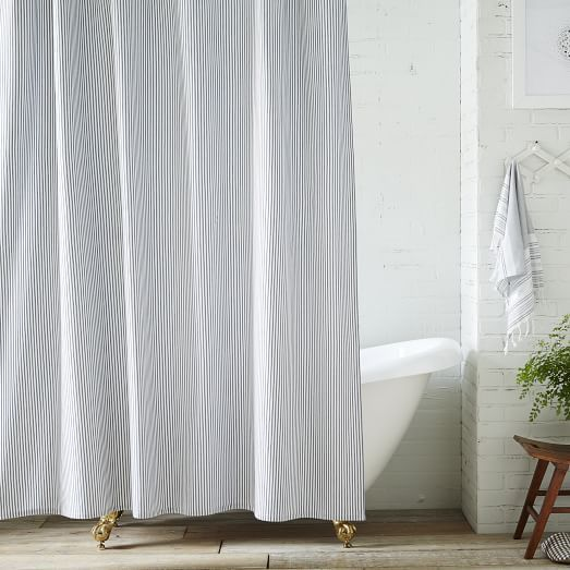 Ticking Stripe Shower Curtain West Elm Tub To Shower Remodel