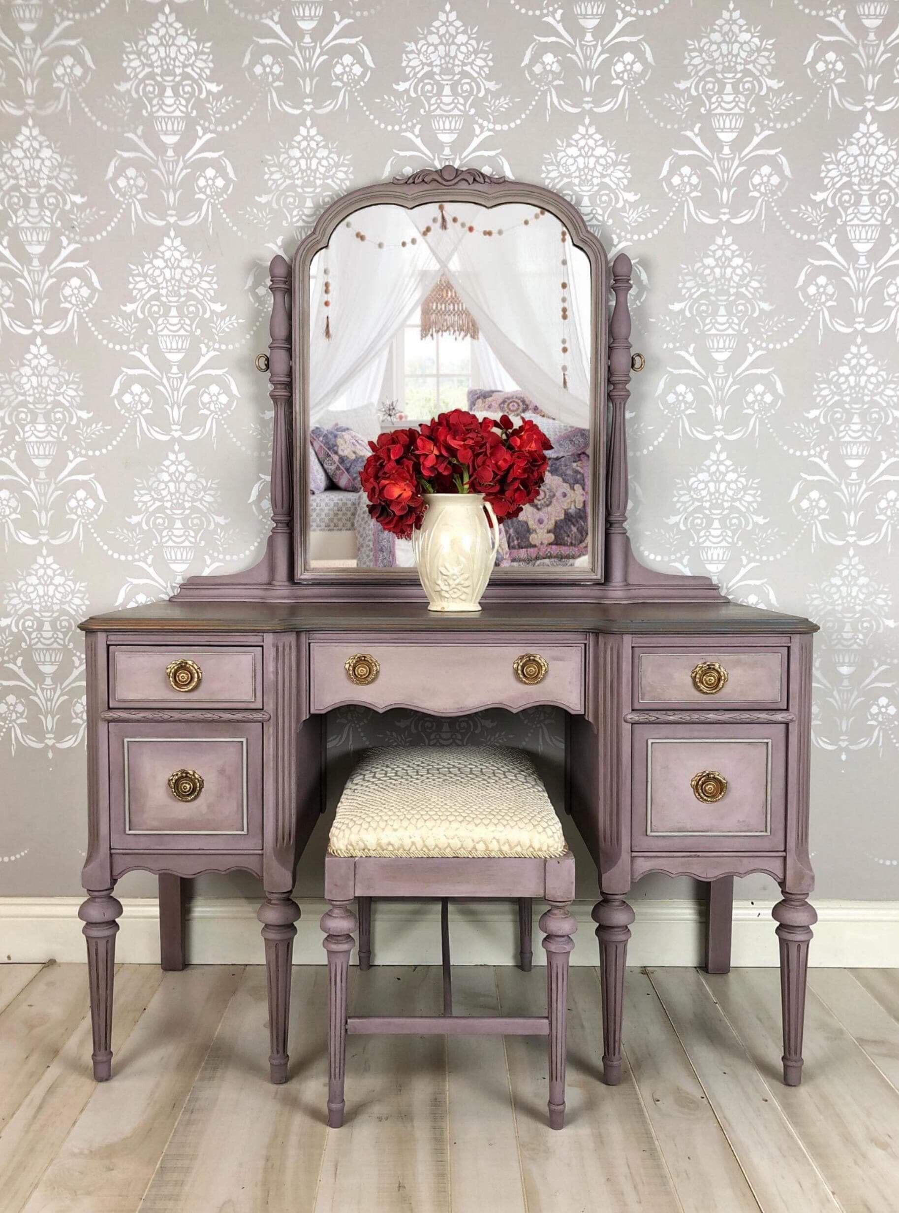Painted Furniture Makeup Vintage Vanity Table Mirror in