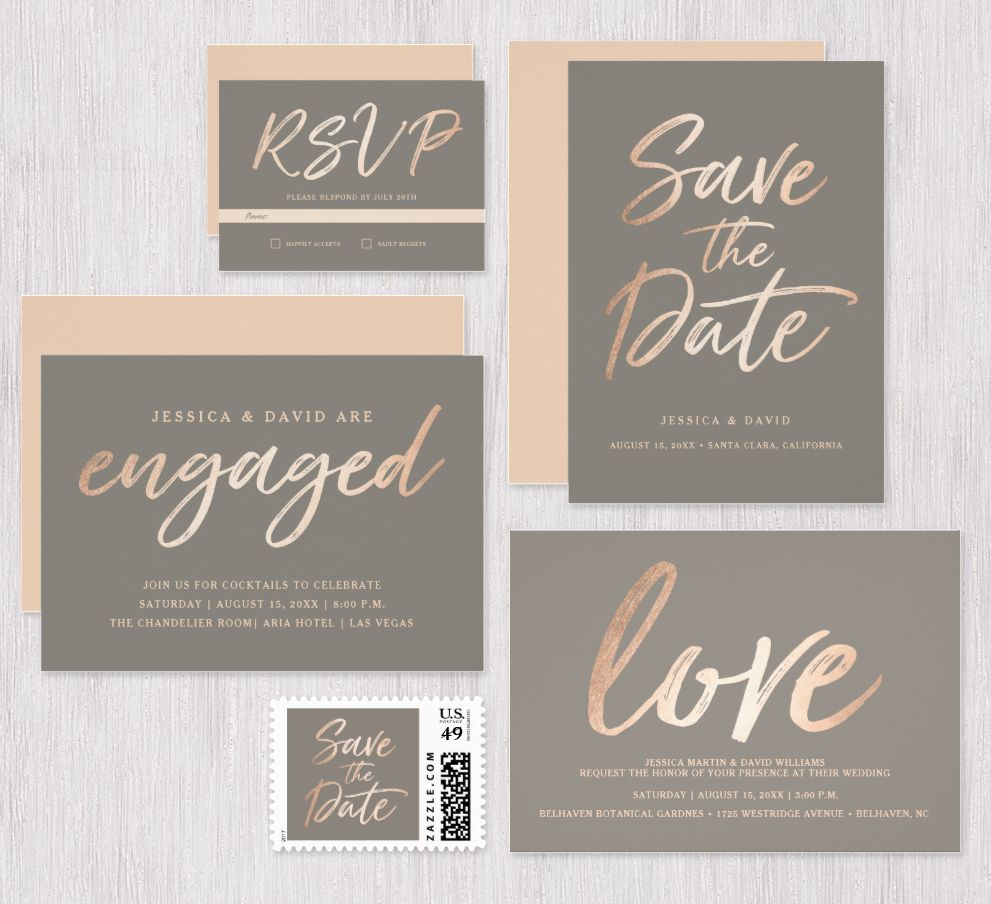 Elegant Script Faux Foil Wedding Collection Rose Gold And Gray Color Palette