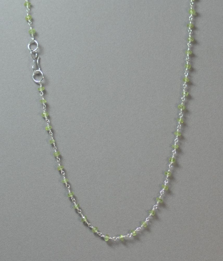 """17"""" GREEN FACETED PERIDOT NECKLACE SILVER FINISHED BRASS w/S-CLOSURE #LindasCabsJewelryGemstones #Choker"""