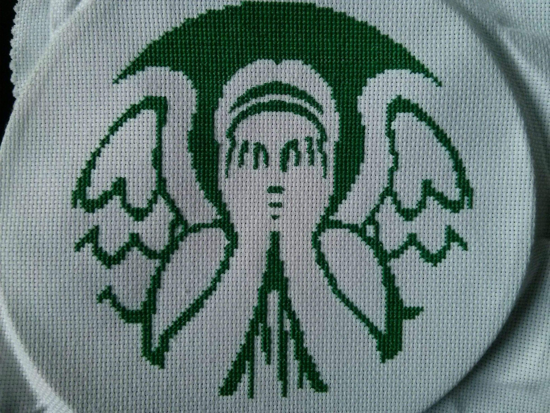 weeping starbucks cross stitch