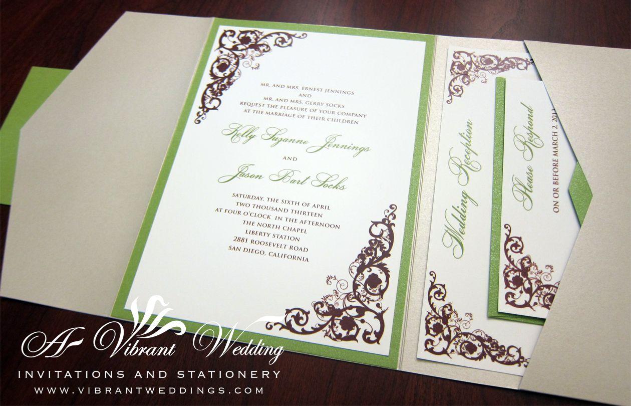 Rustic Elegance Champagne & Green Wedding Invitation – Pocketfold ...