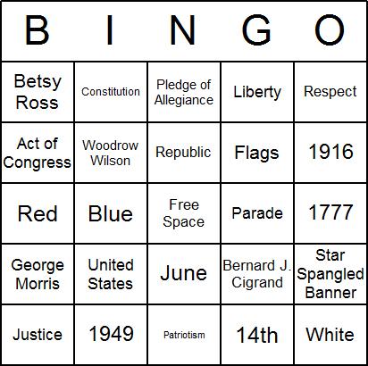 Free Printable Flag Day Bingo Cards and Flag Day Bingo Game