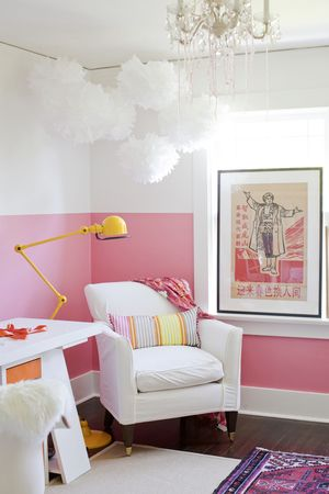 INSIDE — Janis Nicolay, pink and white color blocked bedroom | Sleep ...