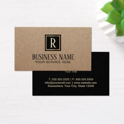Monogram black square initial rustic kraft business card reheart Image collections