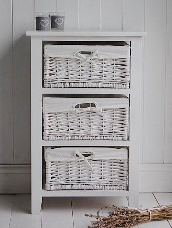 3 Drawer basket storage - White bathroom Storage.