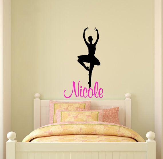 Ballerina Wall Decal Name Wall Sticker Girls Bedroom Decor Etsy Wall Stickers Girl Bedroom Name Wall Stickers Bedroom Decals