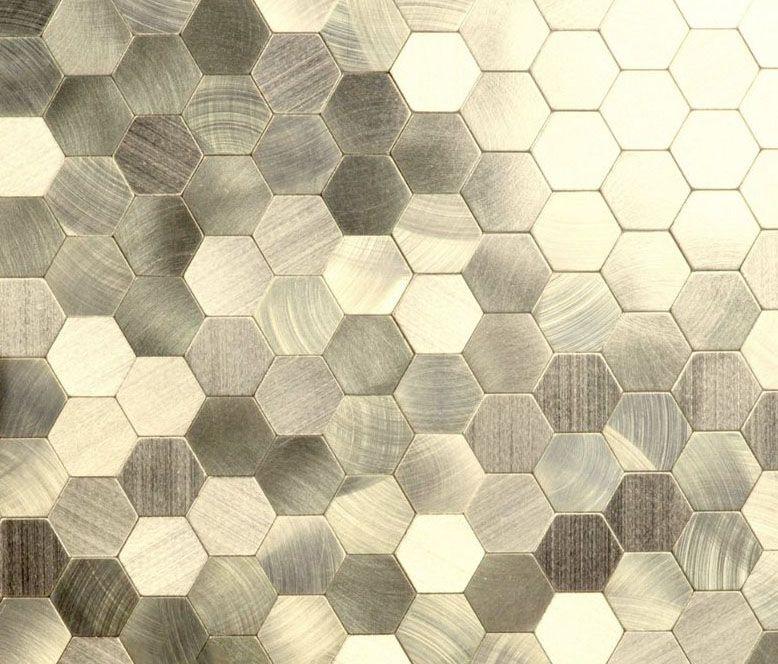Enchanted Metals Brushed Gold Aluminum Kaleido Backsplash In 2020 Metal Hexagon Backsplash Patio Wall