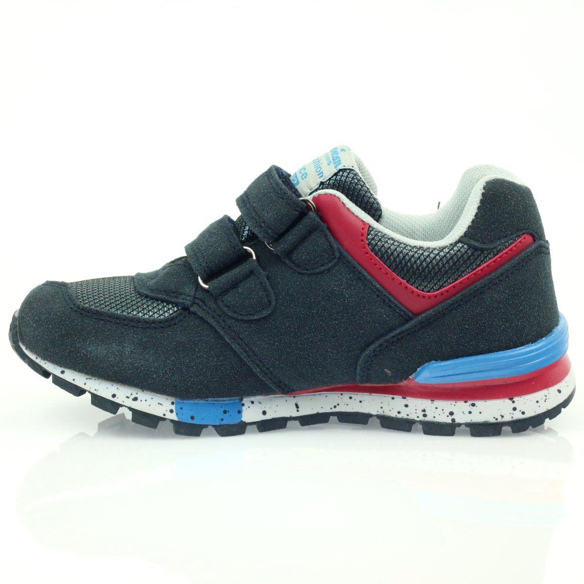 American Club American Adi Sportowe Buty Dzieciece 15110 Szare Czerwone Granatowe