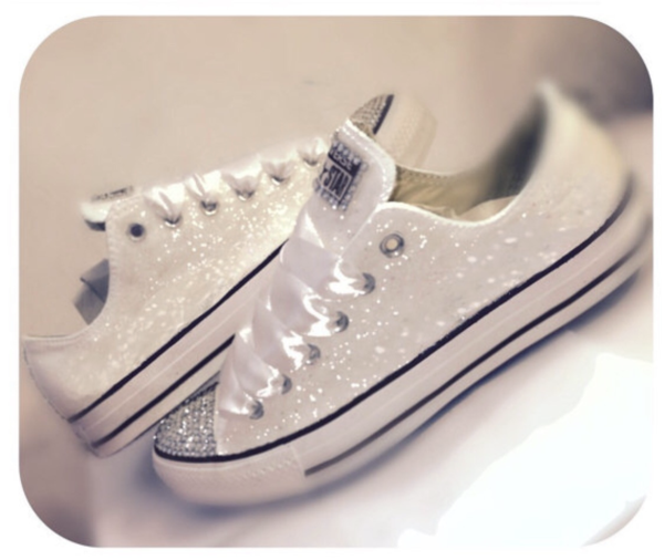 714f4fede39 Womens Sparkly White or Ivory Glitter Converse All Stars Bride Wedding gift Shoes  Sneakers